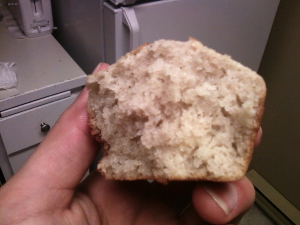 cross-sectioned one-stage cake flour muffin