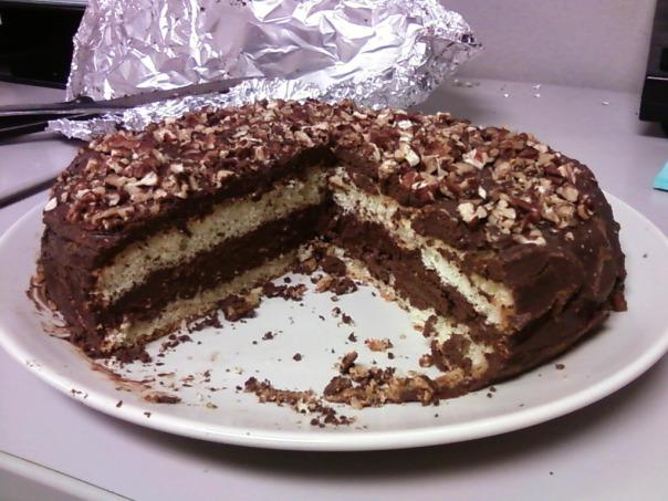 sponge cake pecan ganache missing piece