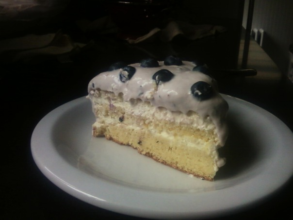 lime blueberry cake slice