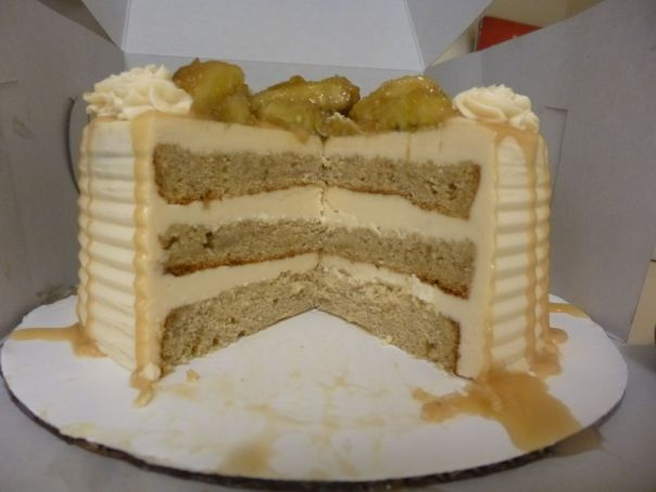 caramel banana cake section