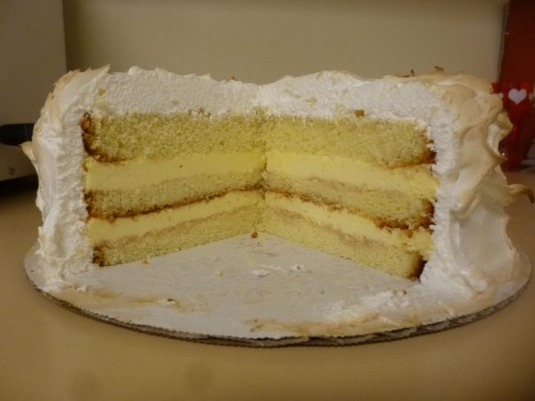 lemon mousse cake cross-section