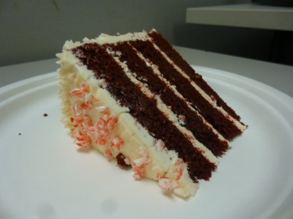 peppermint red velvet cake slice 3